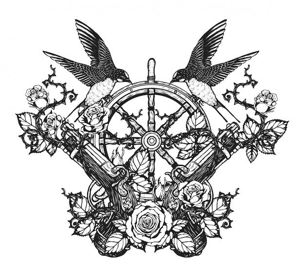 Zwaluwen met piraat pistool vector tatoeage door hand tekenen
