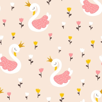 Zwanenprinses naadloos patroon met tulpenbloemen