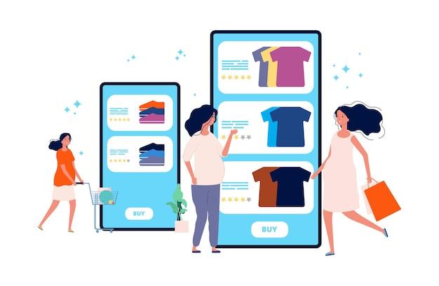 Zwanger bij het winkelen. aanstaande moeders kopen online kleding en schoenen. cartoon platte illustratie