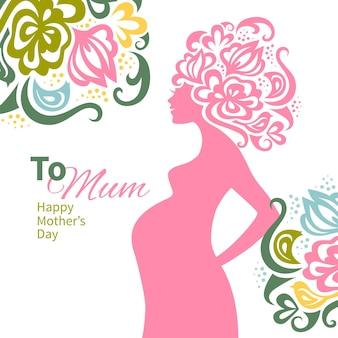 Zwanger vrouwensilhouet met bloemenachtergrond. kaart van happy mother's day