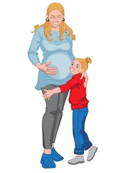 Zwangere blonde vrouw met haar kleine meisjesjong geitje. gelukkig gezin