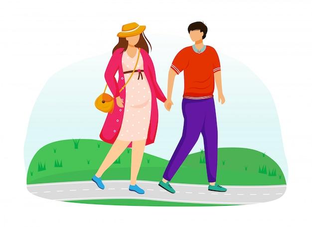 Zwangere dame en man lopen in park vlakke afbeelding. jong gezin voorbereiden op ouderschap. wandelend paarwachten van baby geïsoleerde beeldverhaalkarakters op witte achtergrond