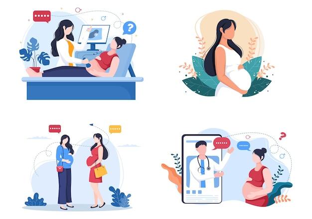 Zwangere dame en medisch consult door zwangerschapsarts achtergrond vectorillustratie