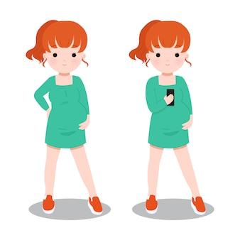 Zwangere dame met behulp van een smartphone. set moederschap stripfiguur illustraties.