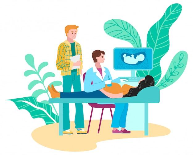Zwangere familieultrasone klank, artsen medische die echoscopie en diagnostiek vlak op witte illustratie wordt geïsoleerd.