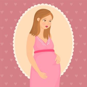 Zwangere gelukkige vrouw met een baby in haar buik