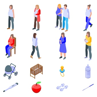 Zwangere iconen set, isometrische stijl