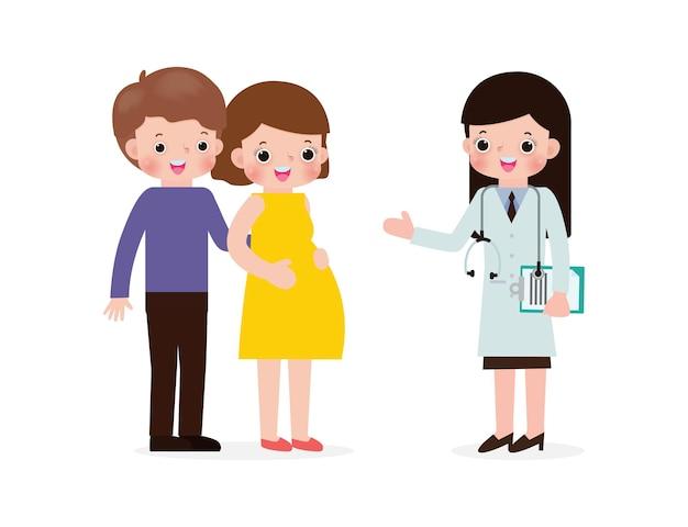 Zwangere jonge vrouw die dokterszwangerschap en prenatale zorgconcept bezoekt.