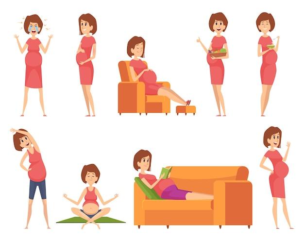 Zwangere karakters. gezonde gelukkige vrouw eten slapen sportieve actieve werkende zwangerschap vrouwelijke levensstijl cartoon