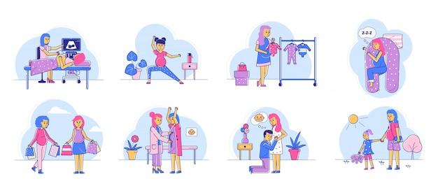 Zwangere lineart vrouw routine dag, gelukkige zwangerschap tijd illustratie platte set.