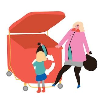 Zwangere moeder dochter gooit afvalcontainer