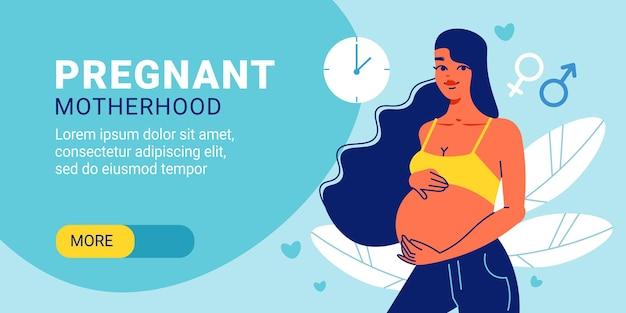 Zwangere moederschap horizontale banner Premium Vector