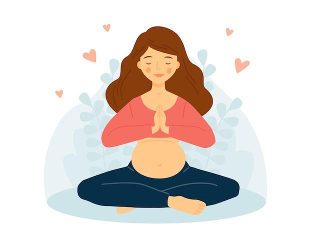 Zwangere vrouw beoefent yoga het meisje mediteert