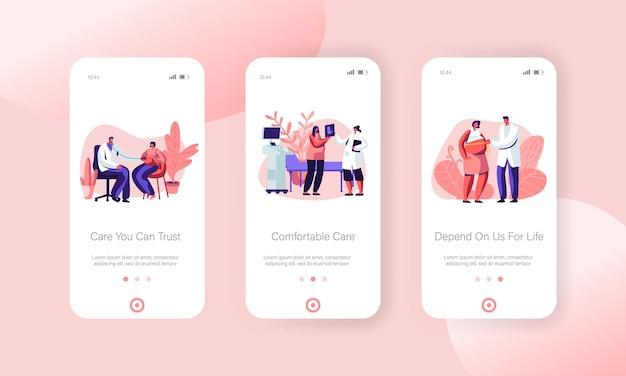 Zwangere vrouw bij doktersafspraak in de paginaset van de mobiele app van de kliniek