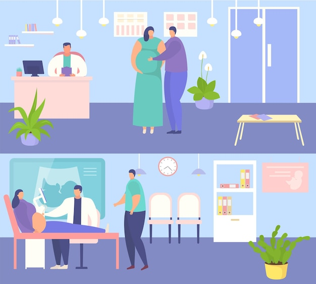 Zwangere vrouw bij ziekenhuisafspraak vector illustratie arts man karakter controle vrouwelijke gezondheid...