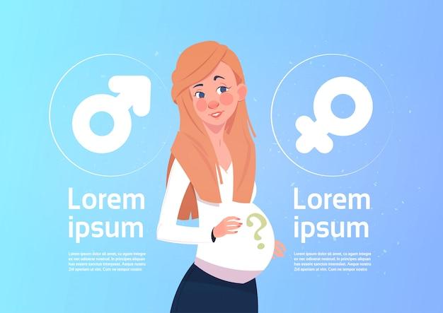 Zwangere vrouw denken aan toekomstige kind geslacht op mannelijke en vrouwelijke tekenen achtergrond