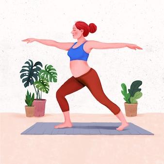 Zwangere vrouw die aan het trainen is zwangere vrouw die thuis yoga traint