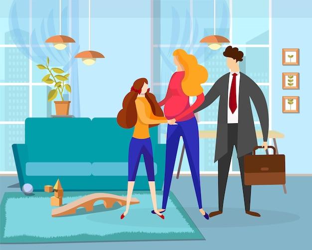 Zwangere vrouw en meisje zien uit man aan het werk
