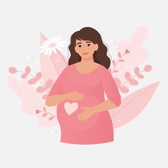 Zwangere vrouw. gelukkig en gezond zwangerschapsconcept