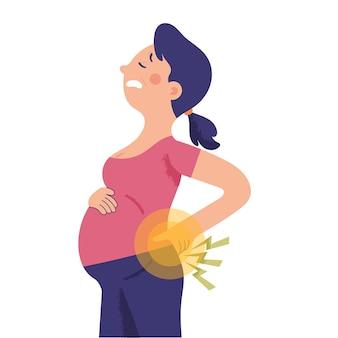 Zwangere vrouw houdt haar lagere taille vast vanwege pijn