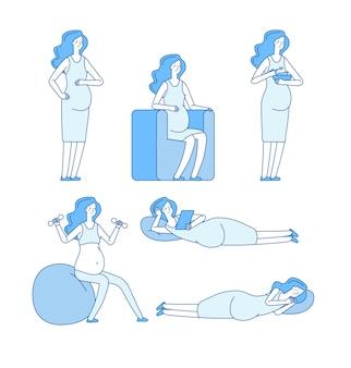 Zwangere vrouw. jonge vrouw aanstaande moeder liggend eten doen oefeningen gelukkig zwangerschap lijn set
