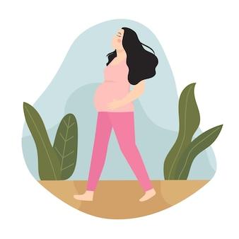 Zwangere vrouw lopen, aan de grond zetten en oefenen