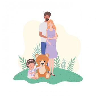 Zwangere vrouw met echtgenoot en baby