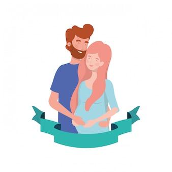 Zwangere vrouw met echtgenoot met decoratief lint