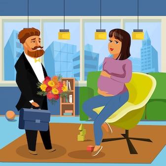 Zwangere vrouw met echtgenoot vectorillustratie.