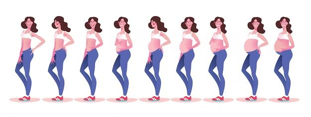 Zwangere vrouw met groeiende buik tegen maanden