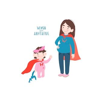 Zwangere vrouw met haar dochter in een superheld past