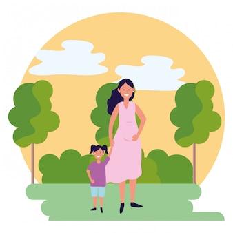 Zwangere vrouw met kind rond pictogram