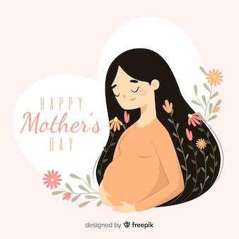 Zwangere vrouw moederdag achtergrond