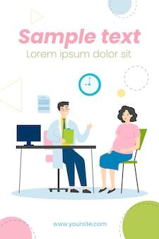 Zwangere vrouw raadplegende arts in zijn bureauillustratie