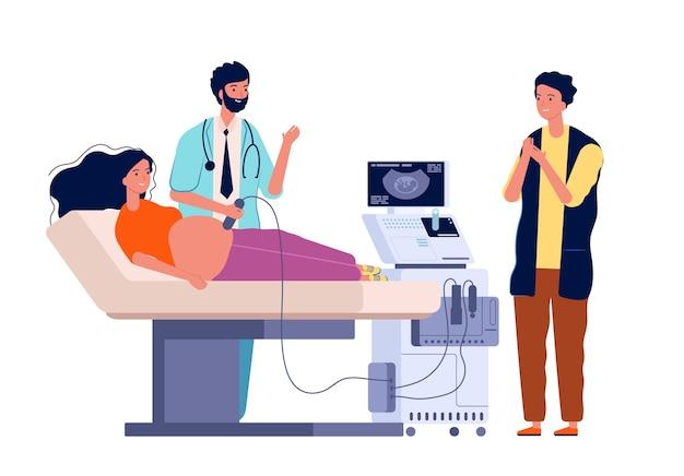 Zwangere vrouw scannen. paar man en vrouw arts familie raadplegen zwangerschap diagnostische geslacht van kind sonogram tekens. illustratie zwangerschap medisch onderzoek, moeder check