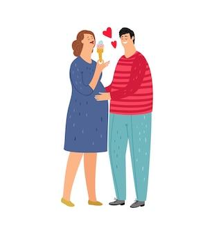 Zwangere vrouw. verliefde paar, vrouw eet ijs. man houdt vrouw, geïsoleerde platte jonge familiekarakters