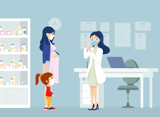 Zwangere vrouw vrouw ingeënt.