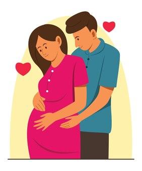 Zwangere vrouw wordt verzorgd door echtgenoot