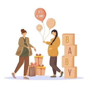 Zwangere vrouwen met geschenken vlakke afbeelding. baby shower partij. moeders wachten van babymeisje. dames voorbereiden op moederschap geïsoleerde stripfiguren op witte achtergrond