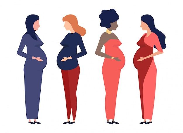 Zwangere vrouwen van verschillende nationaliteiten: europese, afrikaanse, arabische vrouw, hindoe.