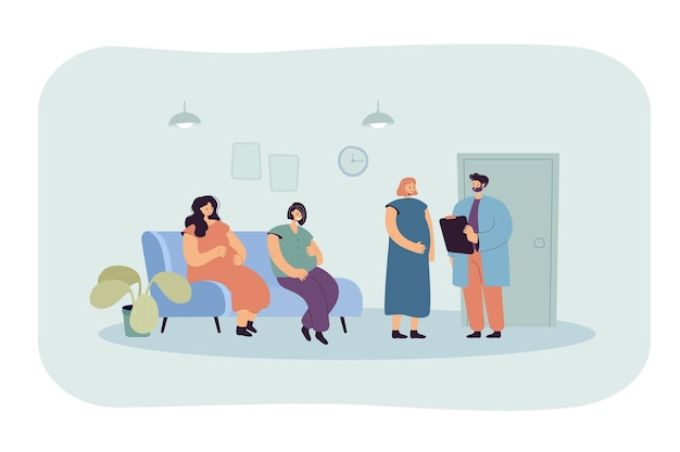Zwangere vrouwen wachten in de rij bij ziekenhuis of kliniek Gratis Vector