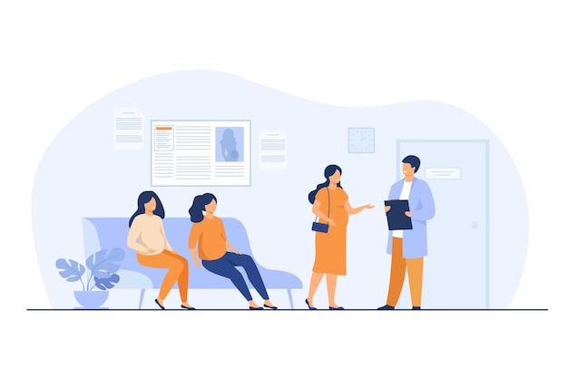 Zwangere vrouwen wachten op het kantoor van de dokter in de kliniek, zittend op de bank of raadplegende specialist