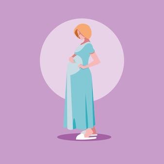 Zwangere vrouwenavatar karakterpictogram vector ilustrate