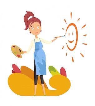 Zwangere vrouwenschilder. schilder de zon als babykamer