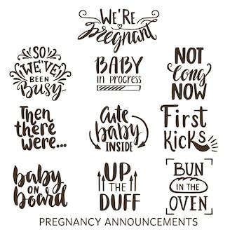 Zwangerschap aankondigingen lettercollectie