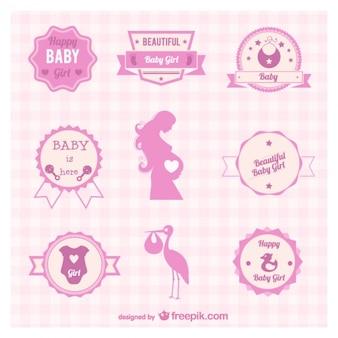 Zwangerschap badges en symbolen vector