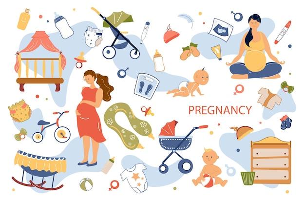 Zwangerschap concept geïsoleerde elementen set