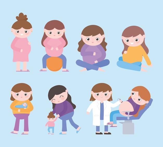Zwangerschap en moederschap, cartoon zwangere vrouwen baby's kind en vrouwelijke arts