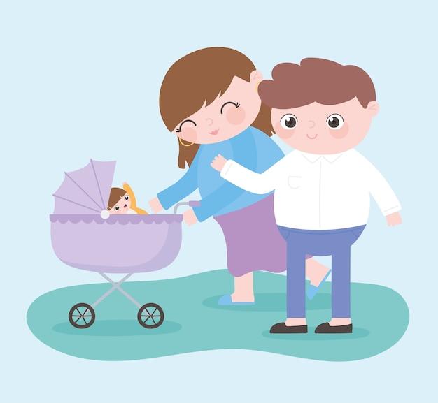 Zwangerschap en moederschap, gelukkige ouders met baby in de kinderwagen