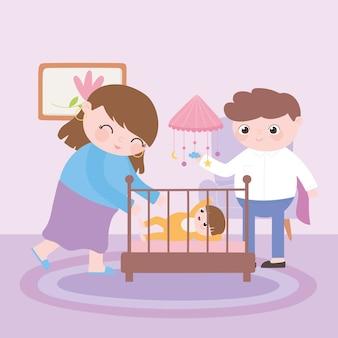 Zwangerschap en moederschap, gelukkige pappa en mamma met baby in wieg
